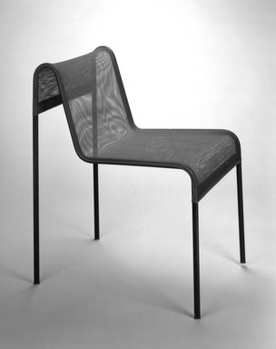 Harold L. Cohen (American, born 1925). <em>Chair</em>, ca. 1950. Steel, nylon, 29 5/8 x 18 1/8 x 23 7/8 in. (75.2 x 46 x 60.6 cm). Brooklyn Museum, Gift of Harold L. Cohen, 1994.110. Creative Commons-BY (Photo: Brooklyn Museum, 1994.110a_bw.jpg)