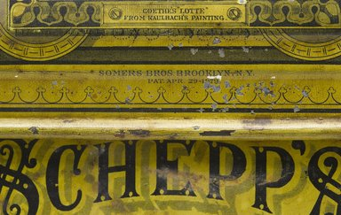 Sommers Brothers. <em>Cake Box</em>, Patented April 29, 1879. Printed metal and porcelain, 9 3/16 x 11 3/4 x 12 in. Brooklyn Museum, Gift of Paul F. Walter, 1994.119.1. Creative Commons-BY (Photo: Brooklyn Museum, 1994.119.1_mark_PS6.jpg)