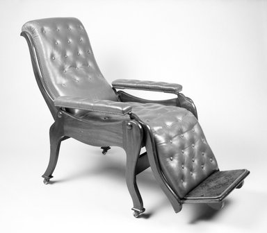 Attributed to Holmes & Company. <em>Reclining Armchair</em>, ca. 1865. Wood, metal, modern upholstery, 43.78 x 26 3/4 x 46 1/2 in.  (111.2 x 67.9 x 118.1 cm). Brooklyn Museum, Gift of Thomas J. and Adriana Williams, 1994.120. Creative Commons-BY (Photo: Brooklyn Museum, 1994.120_bw.jpg)