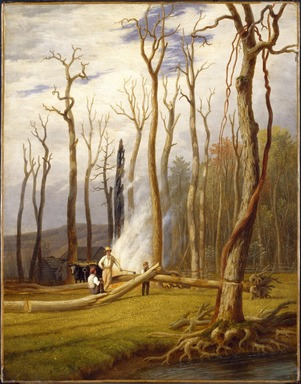 George Harvey (American, 1801-1878). <em>Spring--Burning Trees in a Girdled Clearing, Western Scene</em>, ca. 1840. Oil on canvas, 25 3/4 x 20 1/4 in. (65.4 x 51.5 cm). Brooklyn Museum, Gift of Mr. and Mrs. Leonard L. Milberg, 1994.123 (Photo: Brooklyn Museum, 1994.123_SL3.jpg)