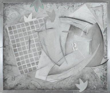 Zigi Ben-Haim (American, born 1945). <em>Mechanical Organism Series AL-113</em>, 1992. Oil and graphite on aluminum, 24 x 28 in. Brooklyn Museum, Gift of Mr. Sheldon and Dr. Miriam Adelson, 1994.125.1. © artist or artist's estate (Photo: Brooklyn Museum, 1994.125.1_PS2.jpg)