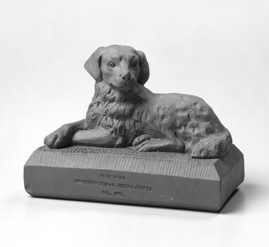 New York Architectural Terra Cotta Company (1886-1932). <em>Figure of a Dog</em>, ca. 1887. Unglazed earthenware, 3 1/4 x 4 1/2 x 2 1/4 in.  (8.3 x 11.4 x 5.7 cm). Brooklyn Museum, H. Randolph Lever Fund, 1994.152.1. Creative Commons-BY (Photo: Brooklyn Museum, 1994.152.1a_bw.jpg)