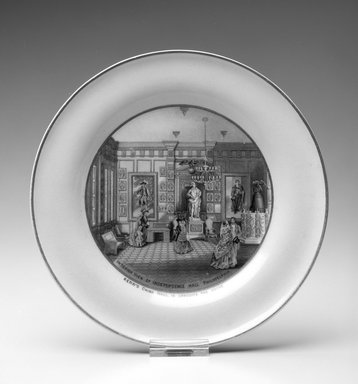 "Jesse Austin (English, 1806-?). <em>Plate, ""Interior View of Independence Hall Philadelphia,""</em> ca. 1876. Porcelain, 3/4 x 8 5/16 x 8 5/16 in.  (1.9 x 21.1 x 21.1 cm). Brooklyn Museum, H. Randolph Lever Fund, 1994.152.2. Creative Commons-BY (Photo: Brooklyn Museum, 1994.152.2a_bw.jpg)"