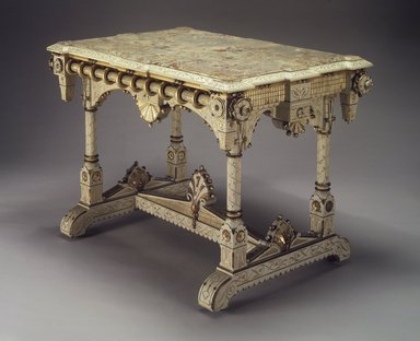 Allen & Brother (1847-1902). <em>Center Table</em>, ca. 1875. Cherry, marble, 31 5/8 x 44 3/4 x 29 1/4 in. (80.3 x 113.7 x 74.3 cm). Brooklyn Museum, Marie Bernice Bitzer Fund, 1994.153. Creative Commons-BY (Photo: Brooklyn Museum, 1994.153_transp565.jpg)