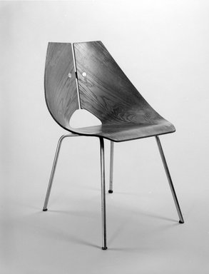 Ray Komai (American, 1918-2010). <em>Side Chair</em>, ca. 1949. Molded walnut plywood, chromed metal, rubber, 30 1/2 x 22 x 22 1/4 in. (77.5 x 55.9 x 56.5 cm). Brooklyn Museum, Alfred T. and Caroline S. Zoebisch Fund, 1994.156.1. Creative Commons-BY (Photo: Brooklyn Museum, 1994.156.1_bw.jpg)