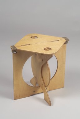 Barry Simpson. <em>Rooster, Folding Stool</em>, Designed: 1975-1976; Manufactured: 1976-1984. Plywood, canvas, 16 1/2 x 16 3/4 x 14 3/8 in. (41.9 x 42.5 x 36.5 cm). Brooklyn Museum, Maria L. Emmons Fund and Alfred T. and Caroline S. Zoebisch Fund, 1994.156.2. Creative Commons-BY (Photo: Brooklyn Museum, 1994.156.2.jpg)