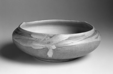 J. Meyer. <em>Bowl</em>, ca. 1910-1918. Ceramic, Other: 4 x 11 1/2 x 11 1/2in. (10.2 x 29.2 x 29.2cm). Brooklyn Museum, Gift of Dr. Clark S. Marlor in memory of Warren Zerbe (1923-1988), 1994.163.1. Creative Commons-BY (Photo: Brooklyn Museum, 1994.163.1_bw.jpg)