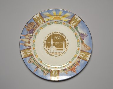 Homer Laughlin Company (ca. 1868-present). <em>Plate (Golden Gate International Exposition)</em>, ca. 1939. Glazed earthenware, 3/4 x 10 1/8 x 10 1/8 in. (1.9 x 25.7 x 25.7 cm). Brooklyn Museum, Gift of Paul F. Walter, 1994.165.74. Creative Commons-BY (Photo: Brooklyn Museum, 1994.165.74.jpg)