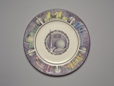 Charles Murphy (American, 1909-1994). <em>Plate (New York World's Fair)</em>, ca. 1939. Glazed earthenware, 3/4 x 10 1/8 x 10 1/8 in. (1.9 x 25.7 x 25.7 cm). Brooklyn Museum, Gift of Paul F. Walter, 1994.165.75. Creative Commons-BY (Photo: Brooklyn Museum, 1994.165.75.jpg)