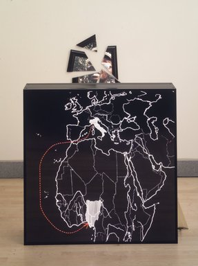 Alfredo Jaar (Chilean, born 1956). <em>Geography=War</em>, 1990. Light box with transparencies and broken mirror, 50 x 40 x 28 in. Brooklyn Museum, Gift of Marsha Fogel, 1994.168. © artist or artist's estate (Photo: Brooklyn Museum, 1994.168_transpc002.jpg)