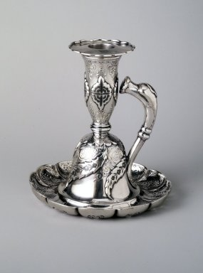 Tiffany & Company (American, founded 1853). <em>Chamberstick</em>, 1889. Silver and niello, 5 x 4 5/8 x 4 5/8 in. (12.8 x 11.8 x 11.8 cm). Brooklyn Museum, Marie Bernice Bitzer Fund, 1994.17.1. Creative Commons-BY (Photo: Brooklyn Museum, 1994.17.1_transp575.jpg)