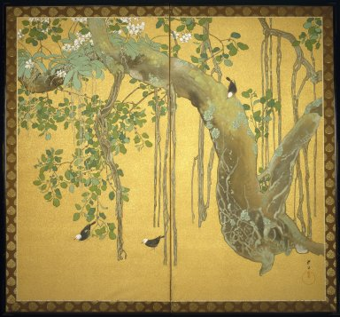 Taisei Minakami (1877-1951). <em>Birds, Orchids and Banyan Tree</em>, ca. 1920. Two-fold screen; ink and color on gold-sprinkled silk, brocade mount, 67 1/2 x 72 7/8 in. (171.5 x 185.1 cm). Brooklyn Museum, Gift from the Collection of Liza Hyde, 1994.193. Creative Commons-BY (Photo: Brooklyn Museum, 1994.193_SL1.jpg)