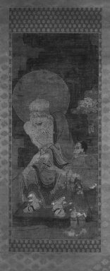 <em>Arhat with Attendant, from A Set of 16 Arhats, Rakan</em>, 14th century. Hanging scroll; ink, color, cut gold leaf on rough silk, Overall- height: 68 1/2 in. Brooklyn Museum, Gift of Mr. and Mrs. Leighton R. Longhi, 1994.195 (Photo: Brooklyn Museum, 1994.195_bw_IMLS.jpg)