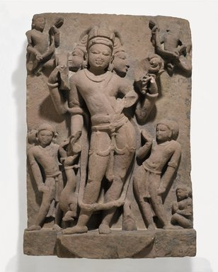 <em>Karttikeya and Attendants</em>, ca. 9th-10th century. Pink sandstone relief, 37 3/8 x 26 1/2 x 7 3/4 in., 369 lb. (94.9 x 67.3 x 19.7 cm). Brooklyn Museum, Gift of Mr. and Mrs. Paul E. Manheim, 1994.199.1. Creative Commons-BY (Photo: Brooklyn Museum, 1994.199.1_PS6.jpg)