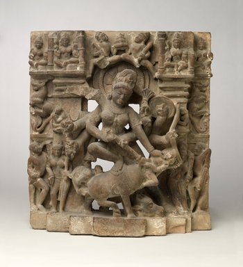 <em>Mahisasuramardini</em>, ca. 10th century. Tan sandstone, 18 1/4 x 17 1/8 x 4 5/8 in., 53 lb. (46.4 x 43.5 x 11.7 cm, 24.04kg). Brooklyn Museum, Gift of Mr. and Mrs. Paul E. Manheim, 1994.199.5. Creative Commons-BY (Photo: Brooklyn Museum, 1994.199.5_front_PS6.jpg)
