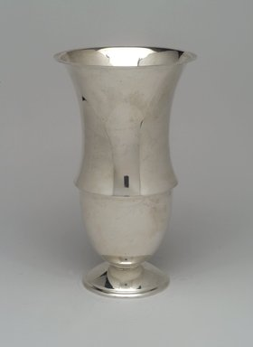 "Reed & Barton (American, 1840-present). <em>""Modernist"" Vase</em>, 1928. Silver, 9 x 5 5/16 x 5 5/16 in. (22.9 x 13.5 x 13.5 cm). Brooklyn Museum, Gift of Daniel Morris and Denis Gallion, 1994.205.3. Creative Commons-BY (Photo: Brooklyn Museum, 1994.205.3.jpg)"