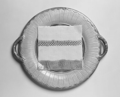Griffen Smith & Company. <em>Cake Plate</em>, ca. 1885. Glazed earthenware, height: 11/16 in. Brooklyn Museum, Gift of Daniel Morris and Denis Gallion, 1994.205.4. Creative Commons-BY (Photo: Brooklyn Museum, 1994.205.4_bw.jpg)