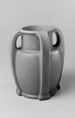 Jeremiah K. Cady (American, 1855-1924). <em>Vase, Model #A418</em>, 1903-1910. Glazed earthenware, 11 x 9 1/2 x 9 1/2 in. (27.9 x 24.1 x 24.1 cm). Brooklyn Museum, Gift of Daniel Morris and Denis Gallion, 1994.205.6. Creative Commons-BY (Photo: Brooklyn Museum, 1994.205.6_view1_bw.jpg)
