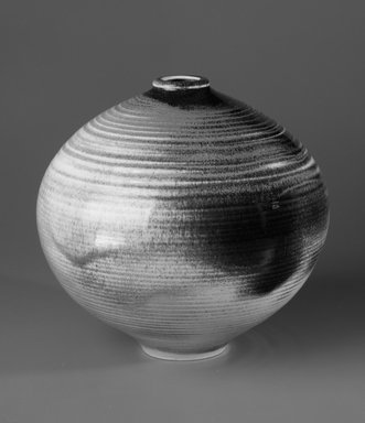 Viveca Heino (American, 1910-1995). <em>Vase</em>, 1955-1960. Glazed stoneware, 10 1/2 x 12 x 12 in. (26.7 x 30.5 x 30.5 cm). Brooklyn Museum, Gift of Daniel Morris and Denis Gallion, 1994.205.9. Creative Commons-BY (Photo: Brooklyn Museum, 1994.205.9_bw.jpg)