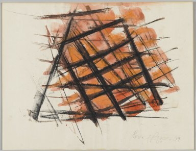 Beverly Pepper (American, born 1922). <em>Untitled</em>, 1977. Watercolor and charcoal with gouache, 8 1/2 x 11 in. Brooklyn Museum, Bequest of John Wesley Strayer, 1994.212.1. © artist or artist's estate (Photo: Brooklyn Museum, 1994.212.1_PS2.jpg)