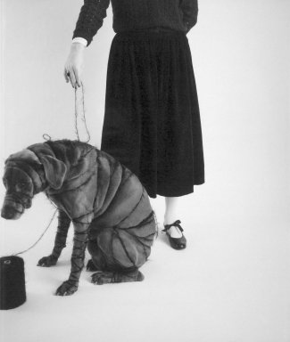William Wegman (American, born 1943). <em>Man Ray and Britta</em>, 1980. Dye diffusion photograph (Polaroid), sheet: 29 x 21 7/8 in. Brooklyn Museum, Gift of Laurie Jewell and Owen Morrel, 1994.224.3. © artist or artist's estate (Photo: Brooklyn Museum, 1994.224.3.jpg)