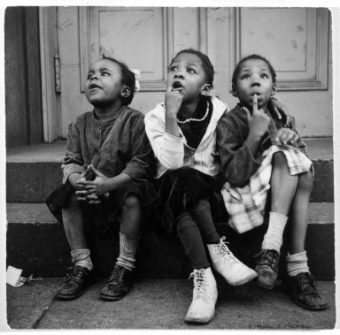 Vivian Cherry (American, 1920-2019). <em>Harlem, Watching a Sky Writing Plane</em>, 1952. Gelatin silver photograph, 8 x 8 in. (20.3 x 20.3 cm). Brooklyn Museum, Purchased with funds given by the Horace W. Goldsmith Foundation, Harry Kahn, and Mrs. Carl L. Selden, 1994.31.1. © artist or artist's estate (Photo: Brooklyn Museum, 1994.31.1_bw.jpg)