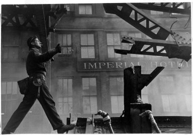 Vivian Cherry (American, 1920-2019). <em>Tearing Down of 3rd Avenue  EL</em>, 1955. Gelatin silver photograph, 8 7/8 x 13 1/4 in.  (22.5 x 33.7 cm). Brooklyn Museum, Purchased with funds given by the Horace W. Goldsmith Foundation, Harry Kahn, and Mrs. Carl L. Selden, 1994.31.3. © artist or artist's estate (Photo: Brooklyn Museum, 1994.31.3_bw.jpg)
