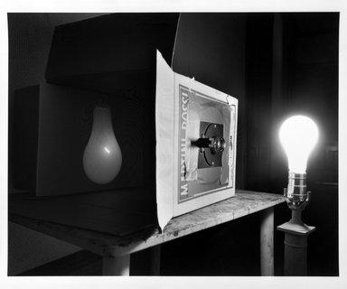 Abelardo Morell (American, born Cuba, 1948). <em>Light Bulb</em>, 1991. Gelatin silver photograph, sheet: 19 3/4 × 23 7/8 in. (50.2 × 60.6 cm). Brooklyn Museum, Gift of the artist in memory of his friend, Bill Beckler, 1994.35. © artist or artist's estate (Photo: Brooklyn Museum, 1994.35_bw.jpg)
