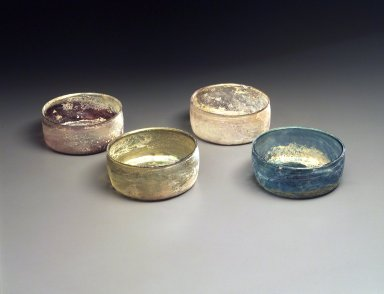 <em>Bowl, 1 of 4</em>, 11th-12th century. Glass, 2 3/16 x 5 1/8 x 5 1/8 in. (5.5 x 13 x 13 cm). Brooklyn Museum, Gift of The Roebling Society, 1994.41.1. Creative Commons-BY (Photo: , 1994.41.1-.4.jpg)