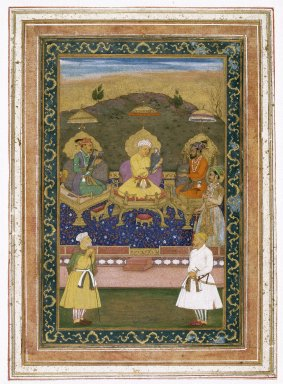 Chitaraman (Indian). <em>The Emperors Akbar, Jahangir, and Shah Jahan with Their Ministers and Prince Dara Shikoh</em>, ca. 1630-1640. Opaque watercolor and gold on paper, 22 x 32 in. (55.9 x 81.3 cm). Brooklyn Museum, Gift of the Asian Art Council in memory of Stanley J. Love, 1994.42 (Photo: Brooklyn Museum, 1994.42_IMLS_SL2.jpg)