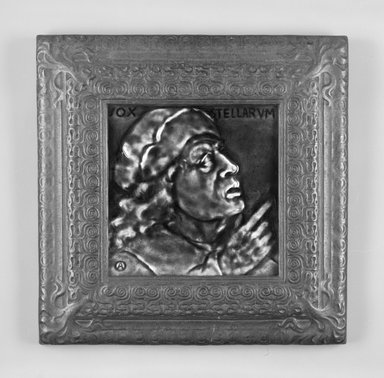 J. & J. G. Low Art Tile Works (1877-1907). <em>Vox Stellarum Tile and Frame</em>, 1881 (tile copyright); 1883 (frame copyright). Glazed earthenware, cast iron, (a) Tile: 6 1/8 x 6 1/8 x 7/16 in. (15.6 x 15.6 x 1.1 cm). Brooklyn Museum, Marie Bernice Bitzer Fund, 1994.56a-b. Creative Commons-BY (Photo: Brooklyn Museum, 1994.56a-b_front_bw.jpg)