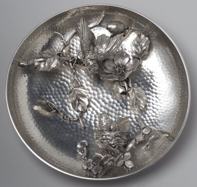 Meriden Britannia Company (1852-1898). <em>Plaque</em>, ca. 1885. Silverplate, 13 3/4 x 13 5/8 x 4 3/8 in. (34.9 x 34.6 x 11.1 cm). Brooklyn Museum, Marie Bernice Bitzer Fund, 1994.58. Creative Commons-BY (Photo: Brooklyn Museum, 1994.58.jpg)