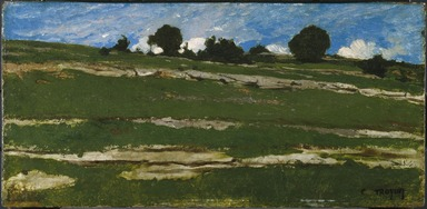 Constant Troyon (French, 1810-1865). <em>Hillside with Rocky Outcrops</em>, ca. 1850. Oil on panel, 11 7/8 x 24 3/8 in. (30.2 x 61.9 cm). Brooklyn Museum, Healy Purchase Fund B and gift of Marion Gans Pomeroy, by exchange, 1994.5 (Photo: Brooklyn Museum, 1994.5_SL1.jpg)