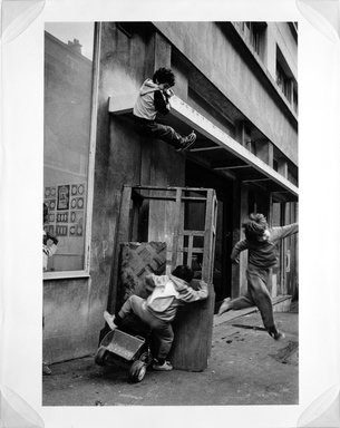 Martine Barrat (Algerian, born 1933). <em>Paris, La Goutte D'or, Friends Playing</em>, 1984. Gelatin silver photograph, image: 17 x 7/8 x 12 in. (45.4 x 30.5 cm). Brooklyn Museum, Gift of the artist, 1994.6.2. © artist or artist's estate (Photo: Brooklyn Museum, 1994.6.2_bw.jpg)