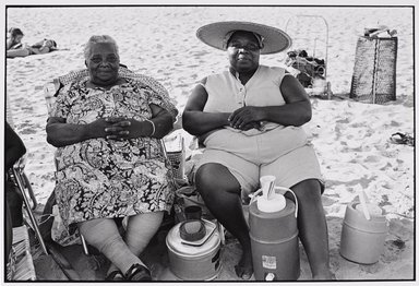 Martine Barrat (Algerian, born 1933). <em>Brighton Beach, Mother and Daughter on a Picnic</em>, 1980. Gelatin silver photograph, image: 10 1/2 x 15 1/4 in. (26.7 x 38.7 cm). Brooklyn Museum, Gift of the artist, 1994.6.3. © artist or artist's estate (Photo: Brooklyn Museum, 1994.6.3_PS9.jpg)