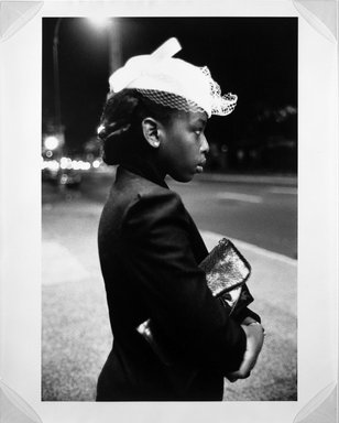 Martine Barrat (Algerian, born 1933). <em>After Church Service on 116th Street</em>, 1985. Gelatin silver photograph, image: 18 x 12 in. (45.8 x 30.5 cm). Brooklyn Museum, Gift of the artist, 1994.6.4. © artist or artist's estate (Photo: Brooklyn Museum, 1994.6.4_bw.jpg)