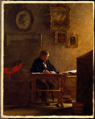 Eastman Johnson (American, 1824-1906). <em>Self-Portrait</em>, ca. 1865-1870. Oil on canvas, 9 3/4 x 7 13/16 in. (24.8 x 19.9 cm). Brooklyn Museum, Purchased with funds given by Mr. and Mrs. Leonard L. Milberg and A. Augustus Healy Fund, 1994.64 (Photo: Brooklyn Museum, 1994.64_SL3.jpg)