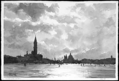 Robert A. Wade. <em>Clouds Over Venice</em>, 1994. Watercolor on paper, 14 1/8 x 21 1/4 in. Brooklyn Museum, Gift of the artist, 1994.67. © artist or artist's estate (Photo: Brooklyn Museum, 1994.67_bw.jpg)