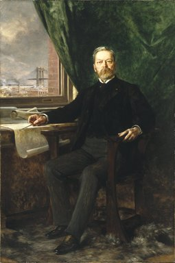 Théobald Chartran (French, 1849-1907). <em>Portrait of Washington A. Roebling</em>, 1899. Oil on canvas, unglazed, framed weight is 166 lbs.: 79 1/8 x 53 1/8 in., 166 lb. (201 x 134.9 cm, 75.3kg). Brooklyn Museum, Gift of Paul Roebling, 1994.69.2 (Photo: Brooklyn Museum, 1994.69.2_SL1.jpg)