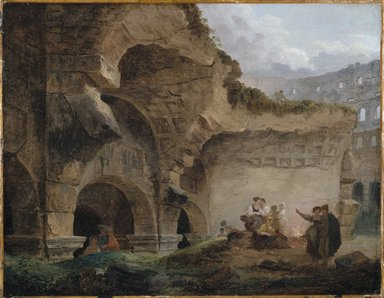 Hubert Robert (French, 1733-1808). <em>Washerwomen in the Ruins of the Colosseum</em>, ca. 1760s. Oil on canvas, 17 3/4 x 22 3/4 in. (45.1 x 57.8 cm). Brooklyn Museum, Anonymous gift, 1994.70 (Photo: Brooklyn Museum, 1994.70_SL1.jpg)