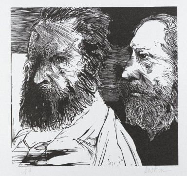 Leonard Baskin (American, 1922-2000). <em>J.F. Millet and Th. Rousseau</em>, n.d. Woodcut on thin wove paper, Sheet: 14 x 11 in. (35.6 x 28 cm). Brooklyn Museum, Gift of Estelle and Jay Sam Unger, 1994.73.2. © artist or artist's estate (Photo: Brooklyn Museum, 1994.73.2_PS4.jpg)