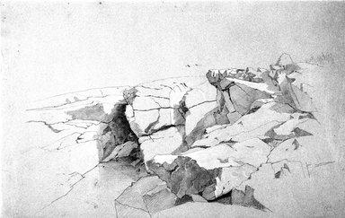 William Stanley Haseltine (American, 1835-1900). <em>Rocks at Narragansett, Rhode Island</em>, 1862-1863. Graphite and white crayon (or chalk) on blue paper, Sheet: 13 7/8 x 21 13/16 in. (35.2 x 55.4 cm). Brooklyn Museum, Given in memory of Anthony E. Fahnestock by his wife, Andrea Henderson Fahnestock, 1994.76 (Photo: Brooklyn Museum, 1994.76_bw.jpg)