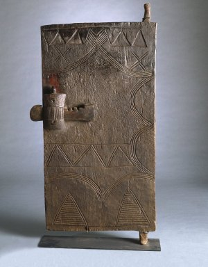 Gurunsi. <em>Door with Lock</em>, late 19th or early 20th century. Wood, iron, Other: 58 x 28 1/2 x 1 1/2 in. (147.3 x 72.4 cm). Brooklyn Museum, Gift of Drs. Israel and Michaela Samuelly, 1994.92. Creative Commons-BY (Photo: Brooklyn Museum, 1994.92_SL1.jpg)