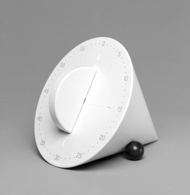 Morrison Cousins (American, 1934-2001). <em>On the Dot Kitchen Timer</em>, Designed 1993; Manufactured 1995. Plastic, metal, 3 x 3 1/2 x 4 in.  (7.6 x 8.9 x 10.2 cm). Brooklyn Museum, Gift of Tupperware, 1995.102.2. Creative Commons-BY (Photo: Brooklyn Museum, 1995.102.2_bw.jpg)