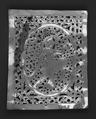 The Ahmedabad Workshops for Lockwood de Forest. <em>Panel with design of Seated Figure Enframed, No. 68</em>, ca. 1881-1900. Brass, height: 8 1/2 in. Brooklyn Museum, Alfred T. and Caroline S. Zoebisch Fund, 1995.13.4. Creative Commons-BY (Photo: Brooklyn Museum, 1995.13.4_bw.jpg)