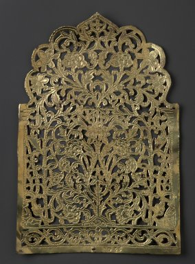 The Ahmedabad Workshops for Lockwood de Forest. <em>Panel with design of Flowers within Morrish Arch, No. 35</em>, ca. 1881-1900. Brass, height: 11 3/4 in. Brooklyn Museum, Alfred T. and Caroline S. Zoebisch Fund, 1995.13.6. Creative Commons-BY (Photo: Brooklyn Museum, 1995.13.6_PS6.jpg)