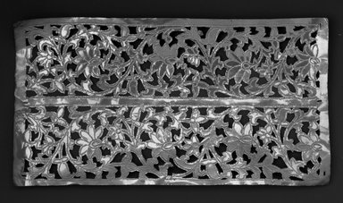 The Ahmedabad Workshops for Lockwood de Forest. <em>Panel with design of Floral Scroll Borders, No. 341</em>, ca. 1881-1900. Brass, height: 12 3/4 in. Brooklyn Museum, Alfred T. and Caroline S. Zoebisch Fund, 1995.13.8. Creative Commons-BY (Photo: Brooklyn Museum, 1995.13.8_bw.jpg)