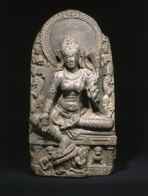 <em>Seated Tara</em>, 9th century. Black schist, 30 1/4 x 15 3/4 x 7 3/4 in., 181 lb. (76.8 x 40 x 19.7 cm, 82.1kg). Brooklyn Museum, Purchased with funds given by Dr. Bertram H. Schaffner, 1995.136. Creative Commons-BY (Photo: Brooklyn Museum, 1995.136_SL1.jpg)