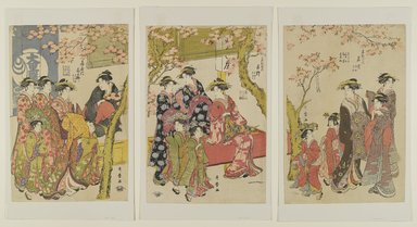 Kitagawa Utamaro (Japanese, 1753-1806). <em>Courtesans Strolling Beneath Cherry Trees Before the Daikokuya Teahouse</em>, probably 1789. Woodblock print, color on paper, 15 3/8 x 10 3/8 in. (39.1 x 26.4 cm). Brooklyn Museum, Gift of the Estate of Charles A. Brandon, by exchange; purchased with funds given by Mr. and Mrs. Richard M. Danziger, Joan Easton, Mrs. Myron S. Falk, Jr., George S. Friedman, Mr. and Mrs. Mark Kingdon, Klaus F. Naumann, Robert Rosenkranz, and Mr. and Mrs. David Young and Asian Art Acquisition Fund, 1995.137a-c (Photo: Brooklyn Museum, 1995.137a-c_PS4.jpg)