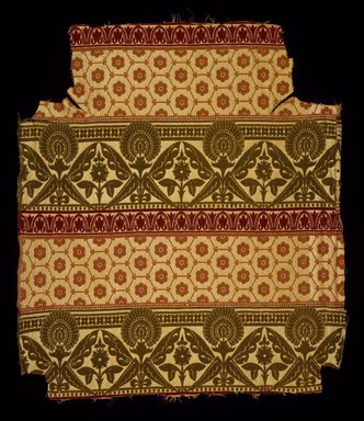 Christopher Dresser (English, 1834-1904). <em>Textile</em>, Registered April 18, 1873. Silk damask, 25 x 22 in. (63.5 x 55.8 cm). Brooklyn Museum, Modernism Benefit Fund, 1995.139 (Photo: Brooklyn Museum, 1995.139_SL3.jpg)